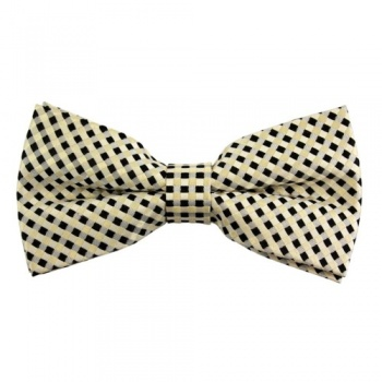 Checked Black and Gold Bow Tie